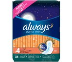 Always Ultra Thin Maxi Pads Leak Guard Overnight Flexi-Wings Jumbo Pack