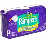 Pampers Preemie Swaddlers Customized Diapers Size P 1-5 Lbs