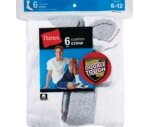 Hanes Socks Men's Cushion Crew Size 6-12 White