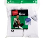 Hanes Socks Men's Ankle Half Cushion Size 6-12 White