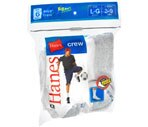 Hanes Socks Boys' Crew Large White