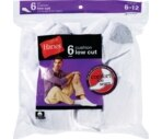 Hanes Socks Men's Cushion Lo-Cut Size 6-12 White