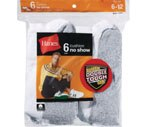 Hanes Socks Men's Cushion No Show Size 6-12 White
