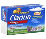 Children's Claritin Non-Drowsy Allergy Relief Chewable Tablets Grape Flavor, 30CT