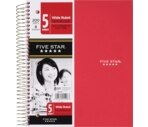 Mead Five Star - 5 Subject Notebook, Wide Ruled, 200 Sheets