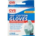 CVS 100% Cotton Gloves Dermatological Medium