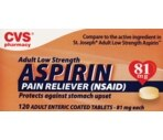 CVS Adult Low Strength Aspirin Pain Reliever (NSAID) Coated Tablets 81 mg