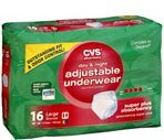 "CVS Day & Night Adjustable Underwear Large Maximum  Absorbency Case (Fits Waist 38"" to 50"")"