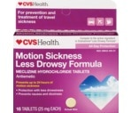 CVS Motion Sickness II Less Drowsy Formula 25 mg Tablets