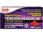 CVS Aspirin Free Tension Headache Pain Reliever/Pain Reliever Aid Coated Caplets