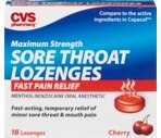 CVS Maximum Strength Sore Throat Lozenges Cherry