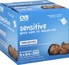 CVS Sensitive Gentle Wipes for Delicate Skin, Unscented