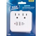CVS/Pharmacy Total Home Charge Tap, 2 Grounded Outlets 2 USB Charging Ports