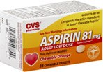 CVS Adult Low Dose Aspirin 81 mg Chewable Tablets Orange
