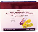 AMD Ritmed Kid's Adhesive Bandages 3/4 in. x 3 in. Assorted Colors, 100CT