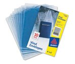 Avery Top Thumb Notch Vinyl Envelope 6 in. x 4 in. Clear, 10/Pack