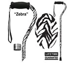 Main Cane™  Designer Cane Adjustable Offset Handle Cane, Zebra